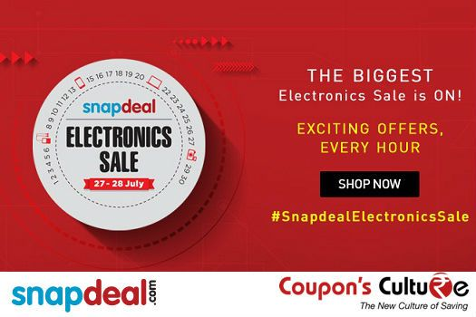 ‪#‎Snapdeal‬ ‪#‎Coupons‬ ‪#‎Online‬ ‪#‎Electronics‬ Sale : Exciting Offers every New Hour. ‪#‎Shop‬ Now