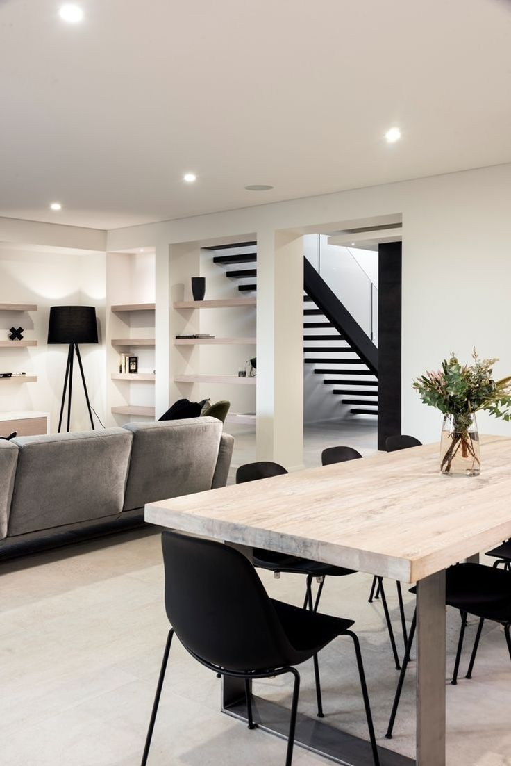 Dining room and stairs in monochrome decor style #…