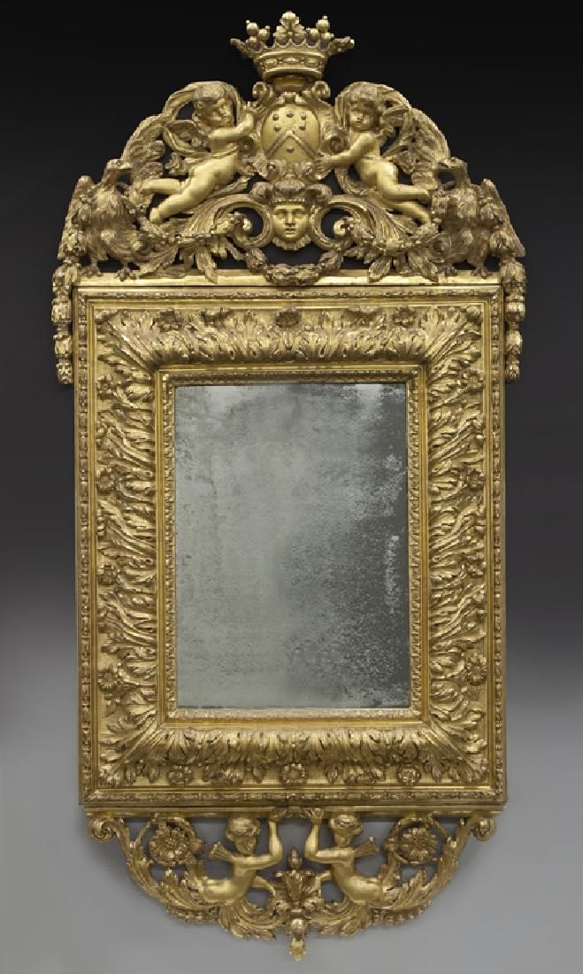 Lot: 18th C. French gilt carved mirror, Lot Number: 0145, Starting Bid: $50, Auctioneer: Dallas Auction Gallery, Auction: The Philip Maia Collection - Session One, Date: January 26th, 2017 EET
