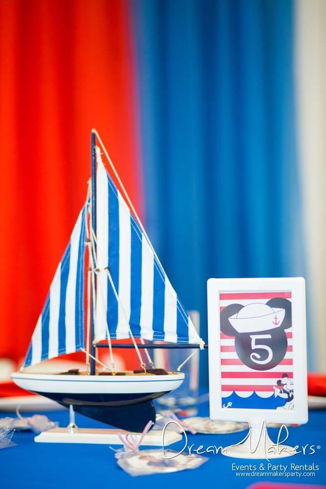 Fun decorations at a Mickey Mouse sailor birthday party! See more party ideas at CatchMyParty.com!