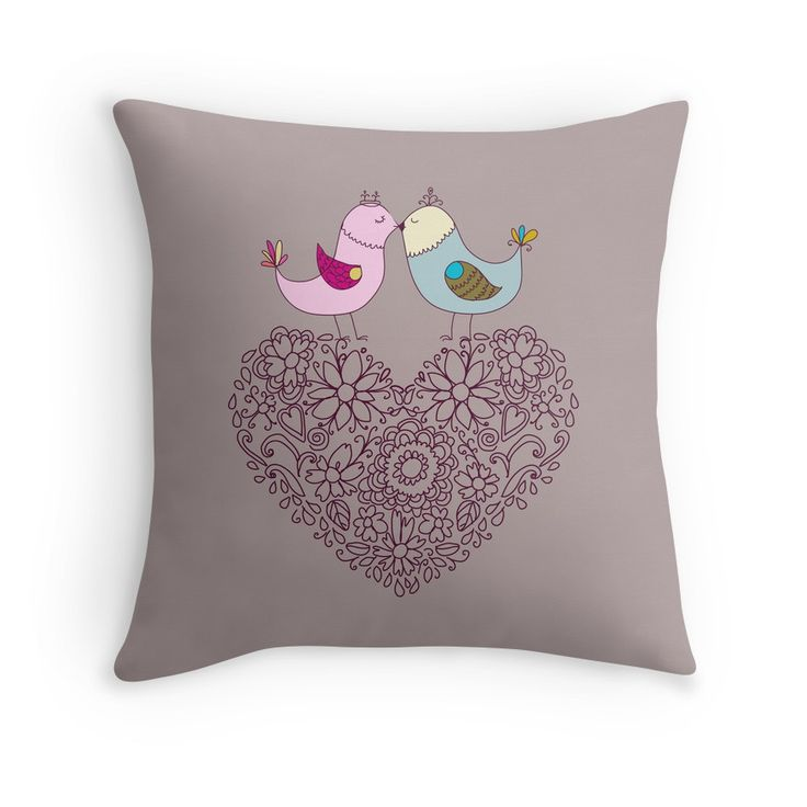 """""""Flowers in the form of a heart and birds.Happy Valentine's."""" Throw Pillows by smotrivnebo   Redbubble"""