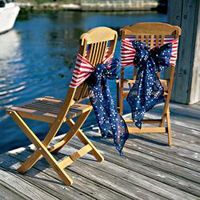 Patriotic chairs...: Chairs Ties, Red White Blue, Chairs Decor, Chairs Bows, 4Th Of July, July 4Th, Blue Chairs, Americana Ideas, Chairs Back