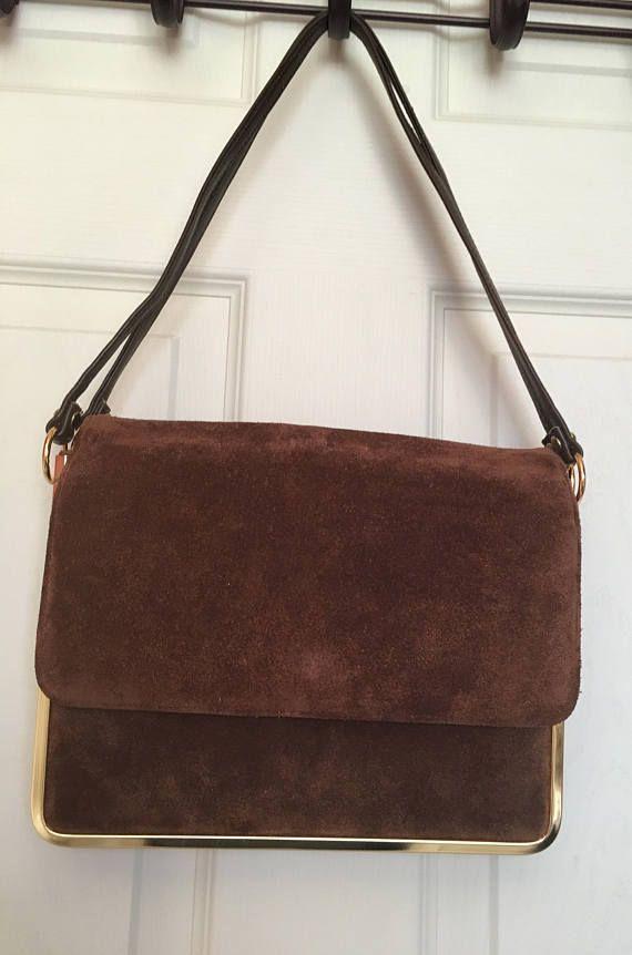 Vintage Art Deco Brown Suede Handbag by Mastercraft Leather