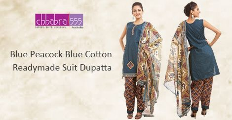 Visit Chhabra555 in Australia with Responsive Customer Service - enquiries responded within 24 hours, and Buy Blue Peacock Blue Cotton Readymade Suit Dupatta @ $47.95 AUD