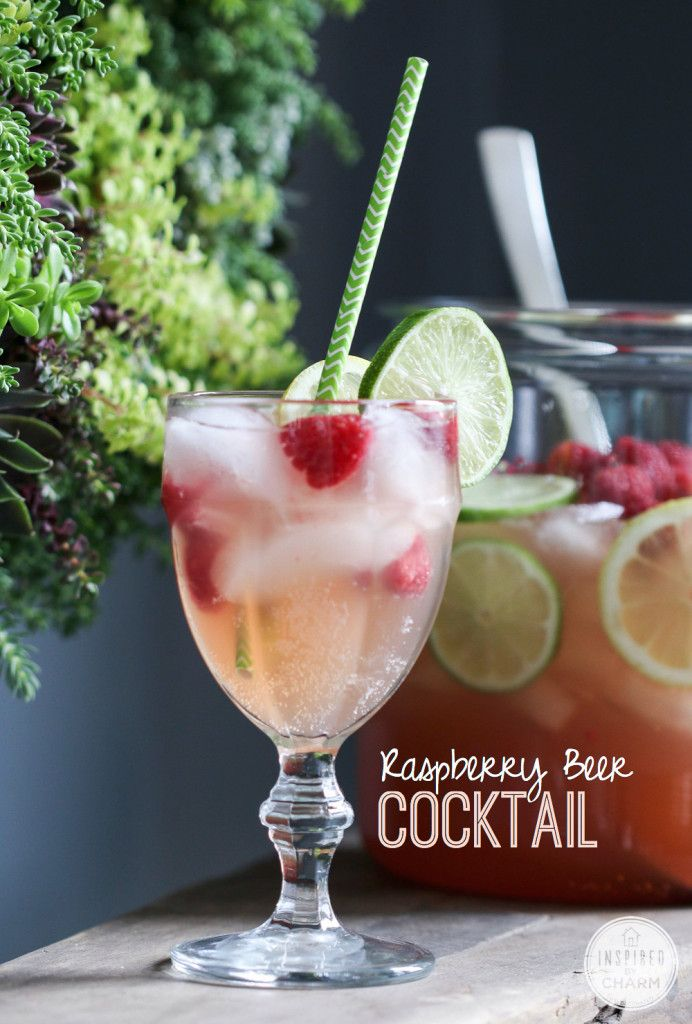 Raspberry Beer Cocktail - a quick, easy, and delicious recipe for your summer parties!