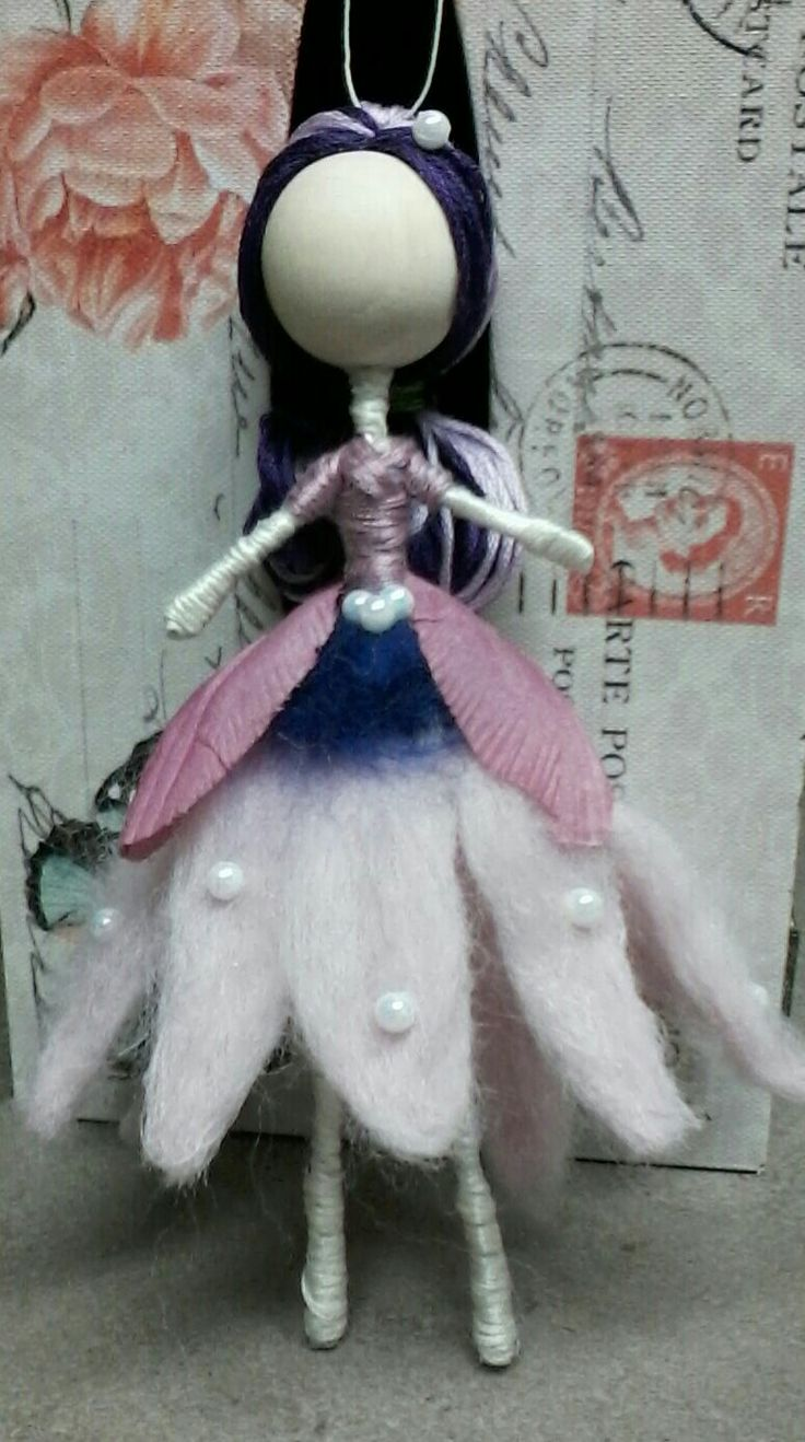 Wire doll needle felted dress