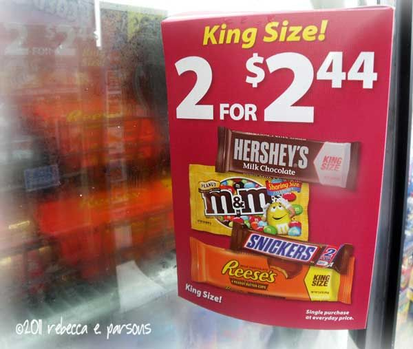 King size candy ad. (Hershey's, M&M's, Snickers, and Reeses)