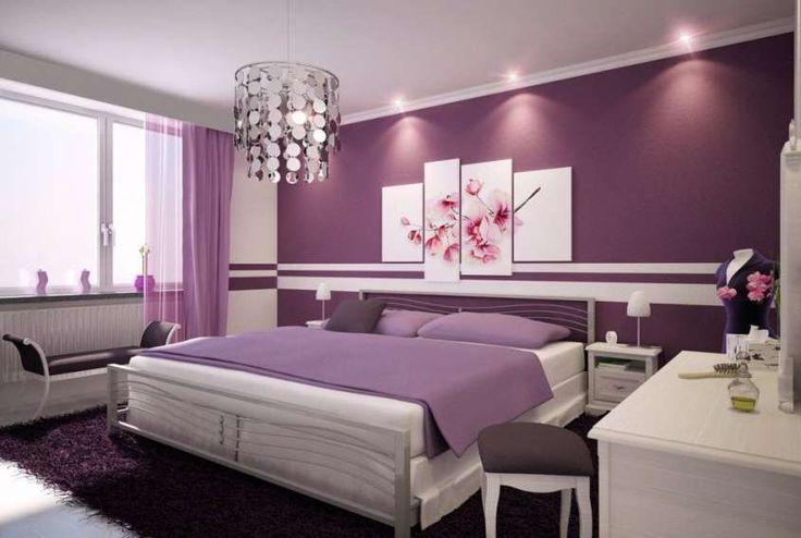 Abbinare i colori in una stanza - Camera da letto viola e bianca