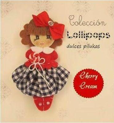 Muñeca fieltro. Pilukas Lollipops. Cherry Cream