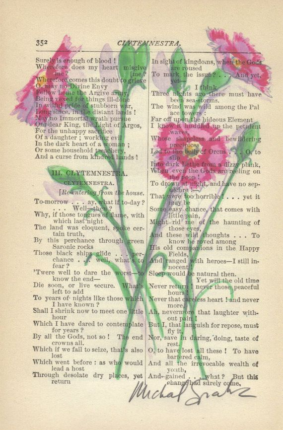 """Painting on pages of old books.  Great idea for Is. 40:8, """"The grass withereth, the flower fadeth: but the word of our God shall stand for ever."""""""