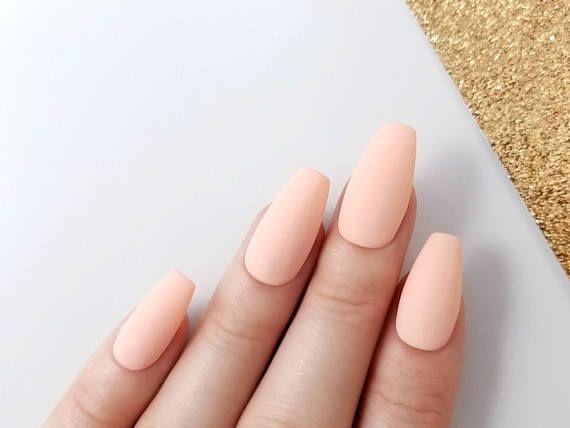 Matte Pfirsich Drücken Sie auf die Nägel – Snap auf wiederverwendbare Maniküre – Sarg Stiletto Mandel Oval Round – Long Me – Products