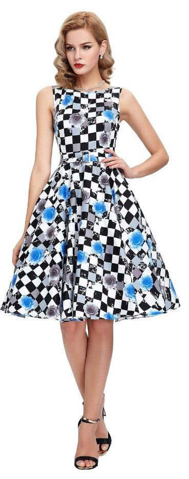 Wearing this radiant Sleeveless Cotton black and blue Vintage Tea Dress with Belt, you'll return back to the 50's instantly! That retro dress highlight a simple bateau neckline with a banded natural waist and full circle swing skirt that comes in an awesome voluminous A-line silhouette. This bewitching dress also has a charming removable belt. What a beautiful wonder! http://www.cutedresses.co/product/sleeveless-cotton-vintage-tea-dress-with-belt/