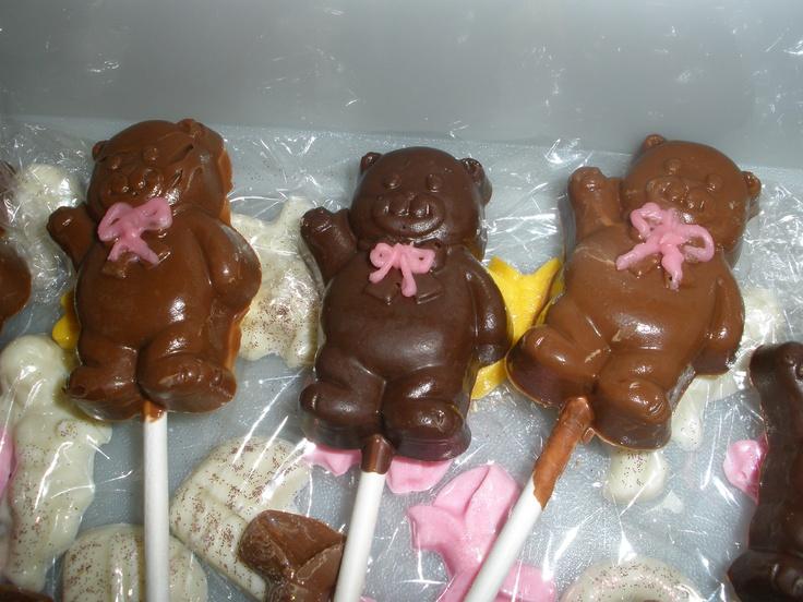 Teddy-bear chocolate suckers for the kids.