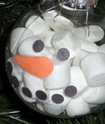 Simple DIY Christmas Craft Ideas for Kids - Marshmallow Decoration - Click PIN for 25 Holiday Decoration Ideas