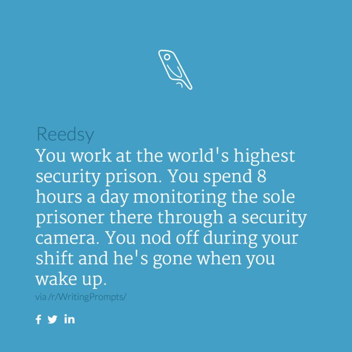 You work at the world's highest security prison. You spend 8 hours a day monitoring the sole prisoner there through a security camera. You nod off during your shift and he's gone when you wake up.