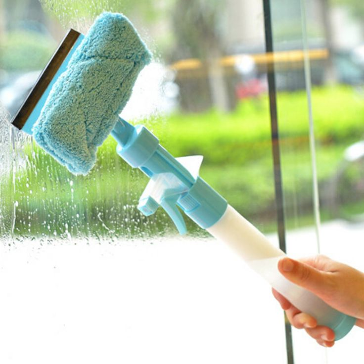 Multifunction All in One Window Squeegee with Microfiber Scrubber and Spray Bottle