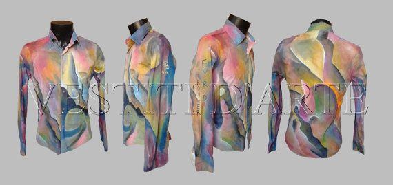 HAND PAINTED SHIRT mens shirts unique mens gift by Vestitidarte