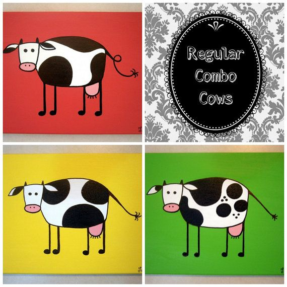 Regular Combo Cows ~ Set of acrylic cow paintings on canvas by MadCowzArt, €40.00