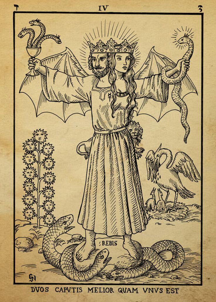 Alchemy Woodcut duos caputis melior quam unus est by dashinvaine on deviantART  . Imagen de la dualidad alquimica. Nótese el León y el de mercurio.