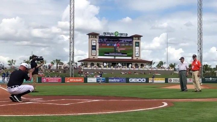 A first-class radio man in the U.S. Navy Randall Edwards was a prisoner of war for 3 1/2 years during World War II. When he returned home he attended college and went on to work at Oak Ridge National Laboratory for 25 years.  Before today's game at 100 years young Randall threw out today's first pitch. #TigersST