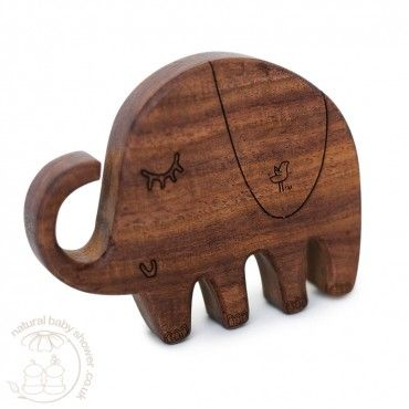 Finn + Emma Wooden Teether - Piper the Elephant www.naturalbabyshower.co.uk/finn-emma-wooden-teether-piper-the-elephant.html