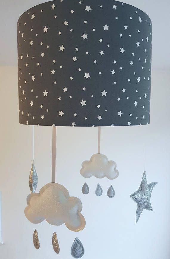 Charcoal Star Lampshade With White Cloud Mobile This Star