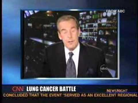 This was Peter Jennings' final broadcast before his death from lung cancer. He said he smoked for years, and in this video he offers some words of wisdom for his viewers. Here's more information from patientresource.net:    Common symptoms of lung cancer include a cough that gets worse over time; constant chest pain; coughing up blood; shortness of breath, wheezing, or hoarseness; repeated bouts of pneumonia or bronchitis; swelling of the neck and face; loss of appetite or weight loss; and…