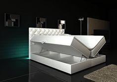 Boxspringbett Weiß Panama Lift 180x200 inkl. 2 Bettkästen Hotelbett Bett LED Chesterfield