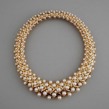 Chanel Paris 18k Gold and Pearl Necklace. ca. 1979/80...