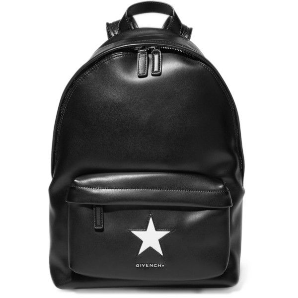 Givenchy Medium backpack in black and white leather ($1,595) ❤ liked on Polyvore featuring bags, backpacks, backpack, black, givenchy, leather backpack, leather rucksack, black evening bag and leather zip backpack