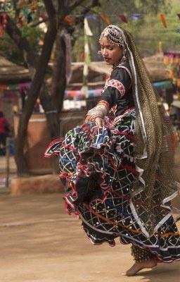 Female kalbelia dancer in India