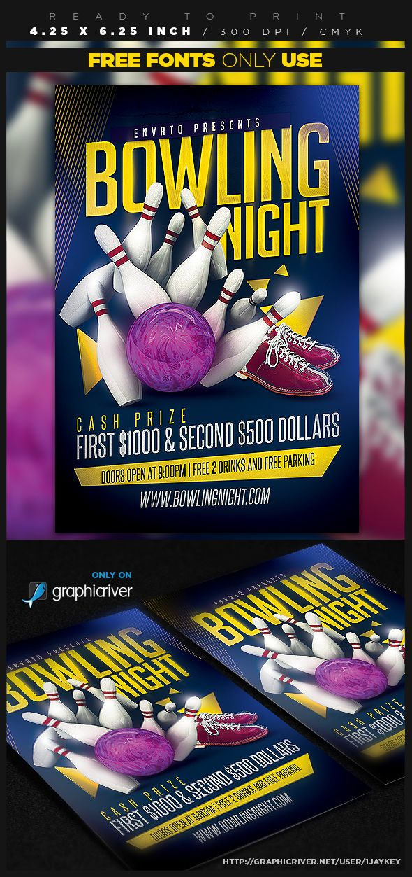 Bowling Night Flyer Template on Behance