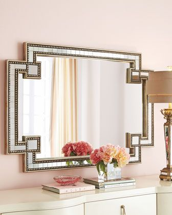 """Mosaic Mirror by John-Richard Collection  35""""W x 49""""T x 2""""D Frame finish: silver and gold leaf beaded edges $750"""