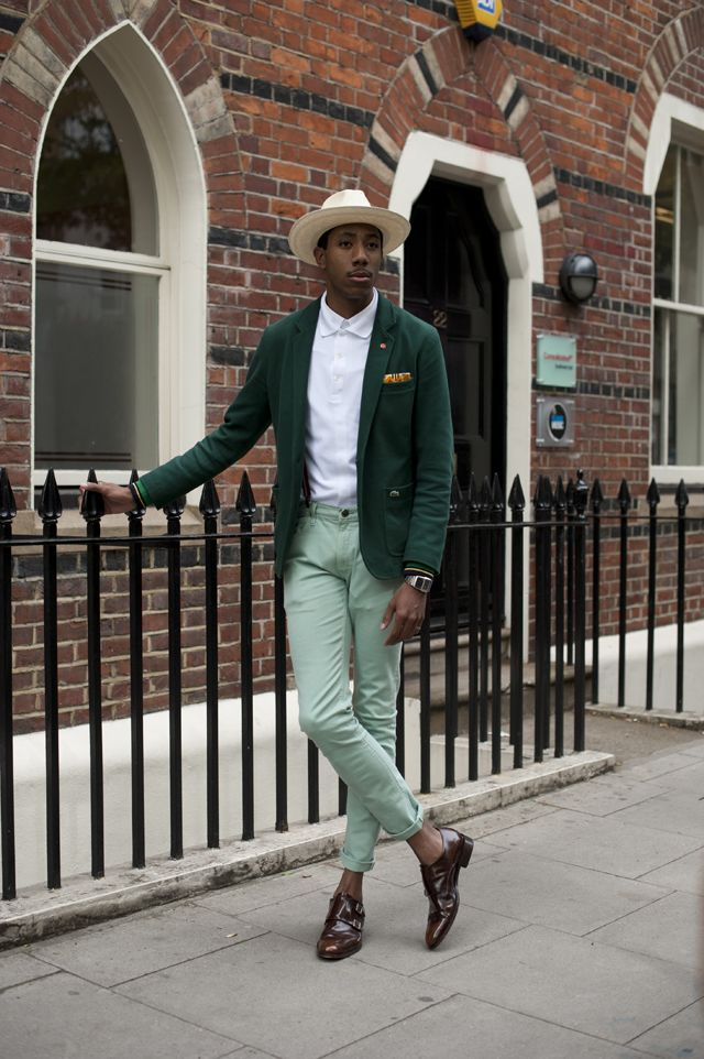 Street-Style-London-13.jpg (640×962)  Best dressed man on the planet snapped La Touche at LC:M day 2 wearing: Panama hat: Lock & Co Shirt: Lacoste Polo shirt: Lacoste Blazer: Lacoste Mint Jeans: Lee Jeans Shoes: Oliver Sweeney Watch: Casio Pocketsquare: Lianne La Touche Braces: Dr Martens