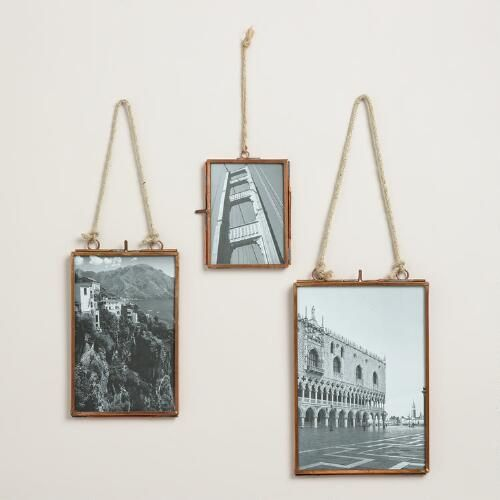 With a thin copper metal border and jute rope hanger, our exclusive frame highlights your photos with rustic flair. Arrange several in different sizes to create a vintage-inspired wallscape.