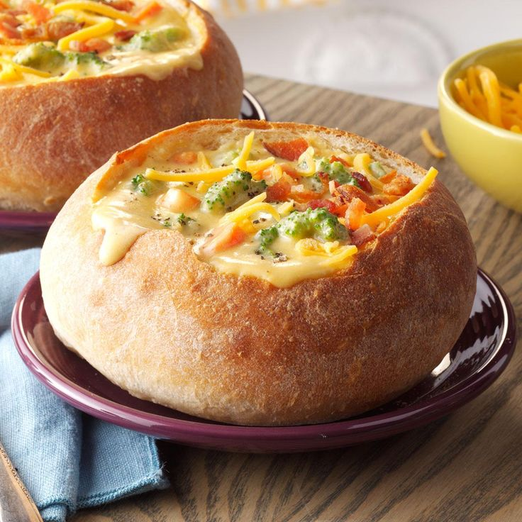 Cheesy Broccoli Soup in a Bread Bowl Recipe -My creamy vegetable soup tastes like what you can get at a restaurant, especially when it's served in a bread bowl. You can find more of my recipes on my blog, yammiesnoshery.com. —Rachel Preus, Marshall, Michigan