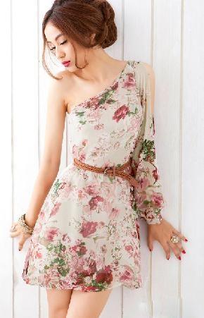 Floral Flower Print One Shoulder Dress ~ Shipping IncludedMinis Dresses, Fashion, Shoulder Floral, Floral Prints, Clothing, Long Sleeve, One Shoulder, Retro Style, Chiffon Dresses