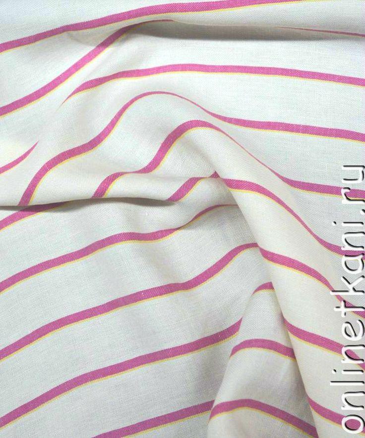 """#OnlineTkani #Ткань #лен """"Розовая полоса"""" состоит из 100% льна - белый фон грубого льна пересекает розовая полоска (8 мм), а вдоль розовой еще тонкая желтая (2 мм) http://onlinetkani.ru/len/len-0069.html?tracking=539c885d64cd2"""