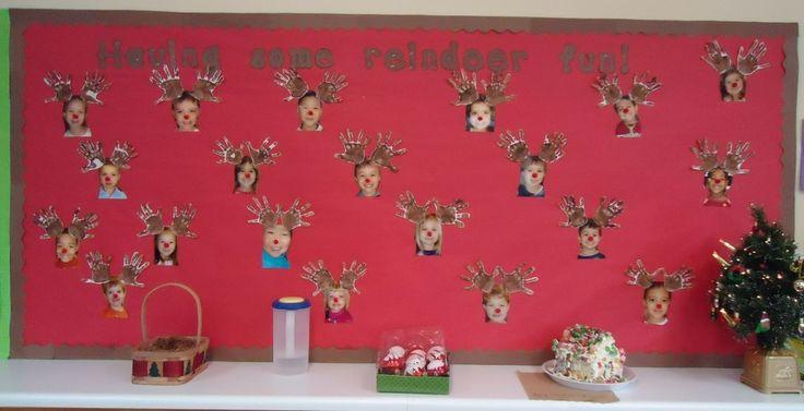 Christmas Bulletin Board- Pre-k is having some reindeer fun!! How stinking cute!!!