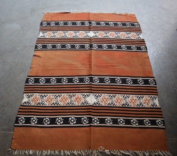 3.5 X 5 Ft Vintage Moroccan Kilim Rug,Beautiful Orange with black color combination turkish kilim ru