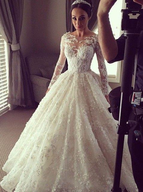 Beautiful Lace Wedding Dress,Illusion Long Sleeves Wedding Dress,Ball