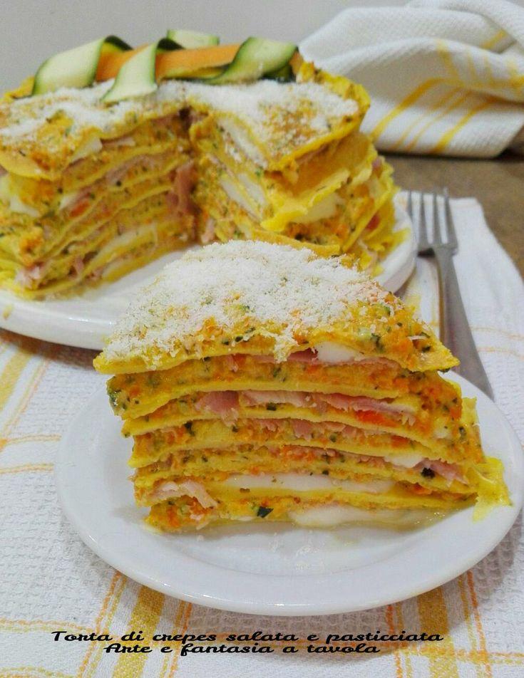 ricetta per presentare le vostre crepes in modo diverso dalla classica preparazione !!!  http://blog.giallozafferano.it/arteefantasiaatavola/torta-crepes-salata-pasticciata/
