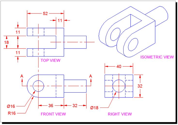 Orthographic Projection Drawing - A two-dimensional graphic representation of an object in which the projecting lines are at right angles to the place of the projection. Also called orthogonal projection.