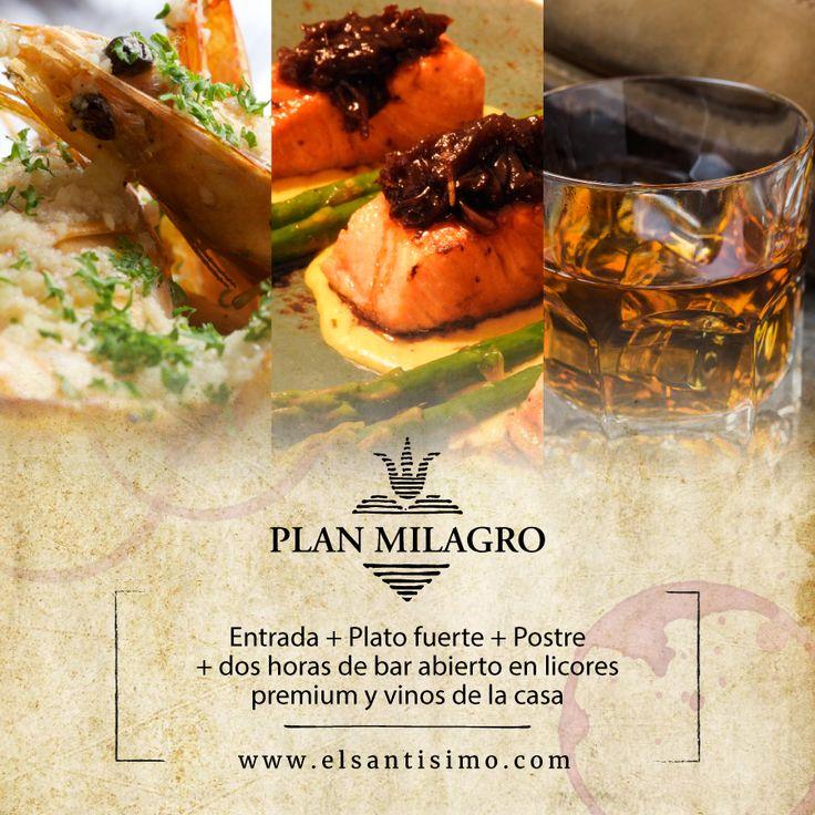 ¿Un whiskey? ¿un tequila? ¿O quizás un ginebra? En la variedad está el placer y en el placer está el milagro. Ordena tu Plan Milagro. #RestauranteElSantísimo #CartagenaDeIndias #Sabor #Caribe