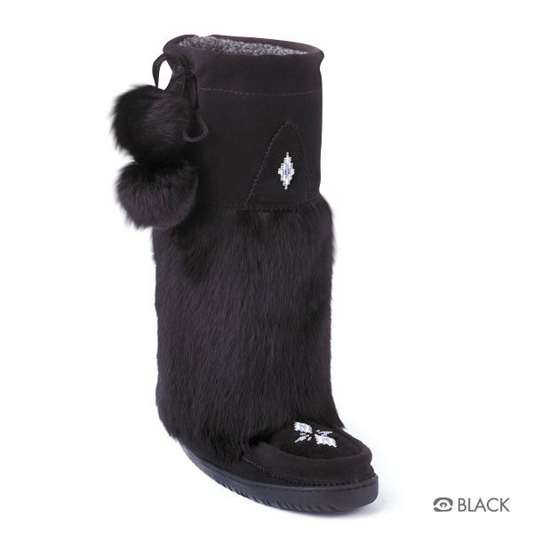 "Tall Classic Vibram Manitobah Mukluks (Black)  Foot Lining: Sheepskin Shearling Height: 15"" Tall Materials: Cowhide Suede, Rabbit Fur Sole: Tipi Vibram"
