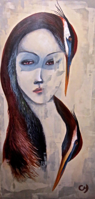 Isha par Christyne Proulx / ©2016/ 24X48 / acrylique sur bois / figurative and contemporary art/ acrylique, art painting, Street Art (Urban Art), Canvas, Women, Portraits, femme,oiseaux, grand héron, street art, patchwork, peinture, contemporain, abstrait, tableau street art,expressionnisme, surréaliste.