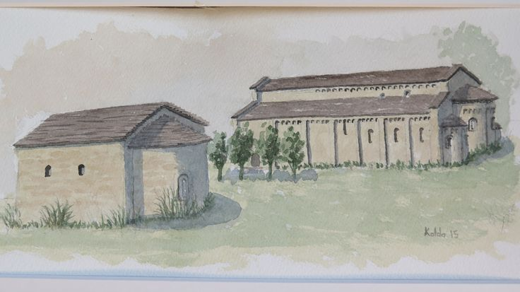 Monasterio de Obarra. Huesca.   Acuarela