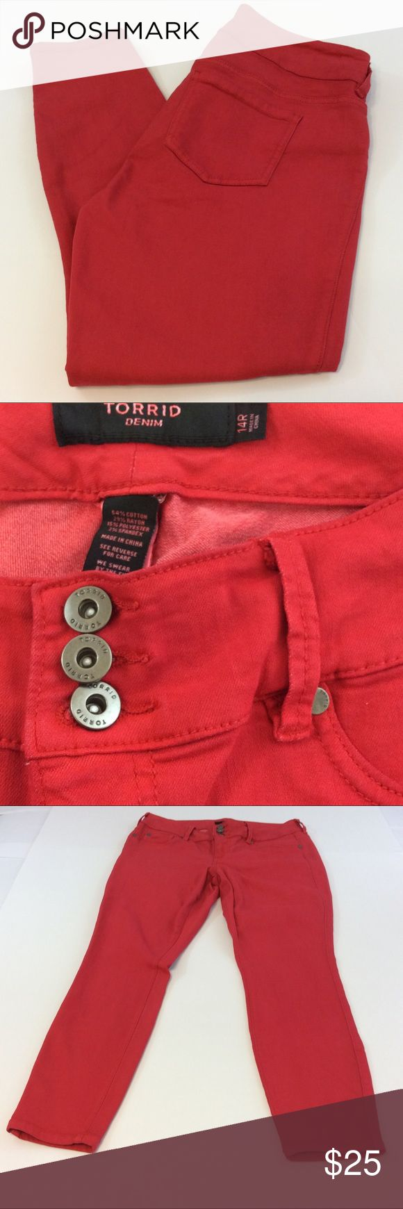 Torrid denim red skinny pants size 14R Torrid denim red skinny pants size 14R made a 54% cotton 29% rayon 15% polyester and 2% spandex. Measurements waist 34 inches, rise 9 1/2 inches and inseam 27 inches. GUC questions??? Please ask torrid Jeans Skinny