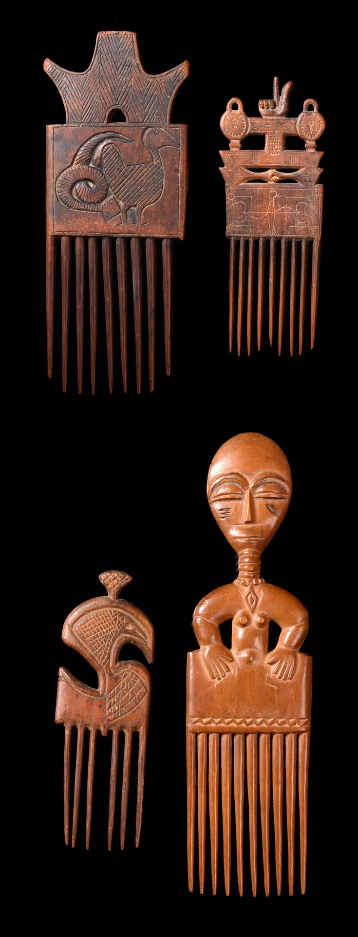 Africa | Four hair combs from the Ashanti people of Ghana | Wood