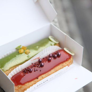 Pistachio and blackcurrant and vanilla eclairs. Photo by farfelue.com | Yelp